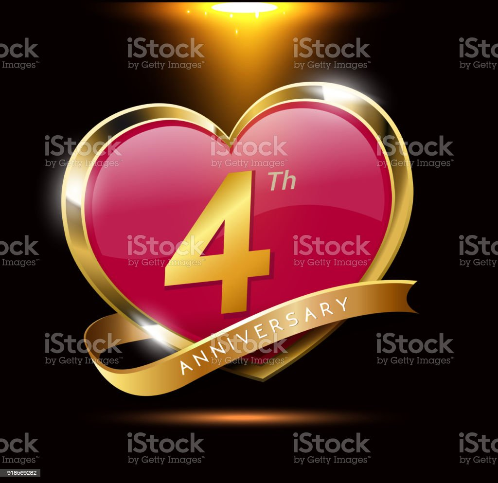 4th love anniversary with shiny gold on black background. heart shape with ribbon vector art illustration