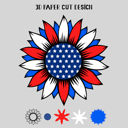 4th of July 3D Sunflower with USA flag. Vector patriotic symbol.