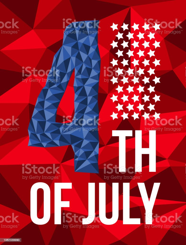 4th of July, American Independence Day card vector art illustration