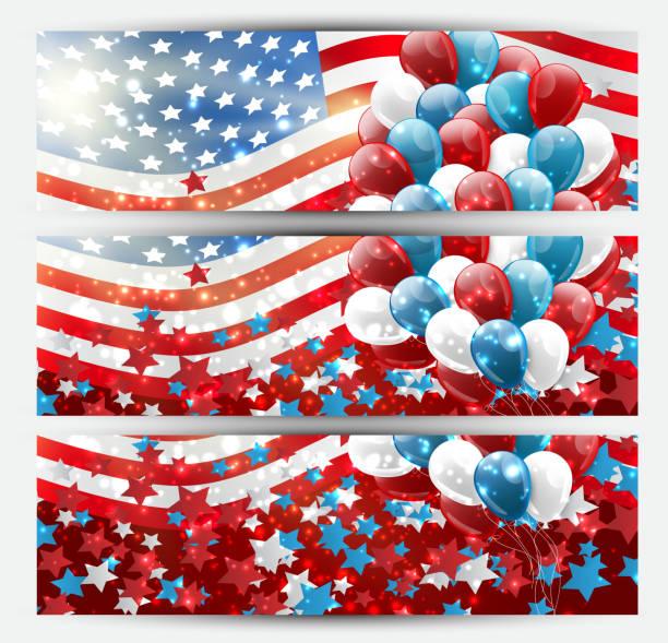 4 temmuz amerikan ulusal bağımsızlık günü kutlama banner mavi, kırmızı ve beyaz balonlar ve bayrak tasarım kavramı ile ayarlayın. vektör illustration. - family 4th of july stock illustrations