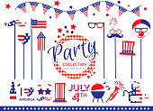 Vector illustration of a 4th of July American themed party invitation design element set. Includes party elements on a stick such as American flag, mustache, glasses, clown face, stars, hearts. Includes hand lettering that says 'Happy Birthday', carnival tent, flags, balloons, trumpet, birthday cake. Fully editable EPS 10.