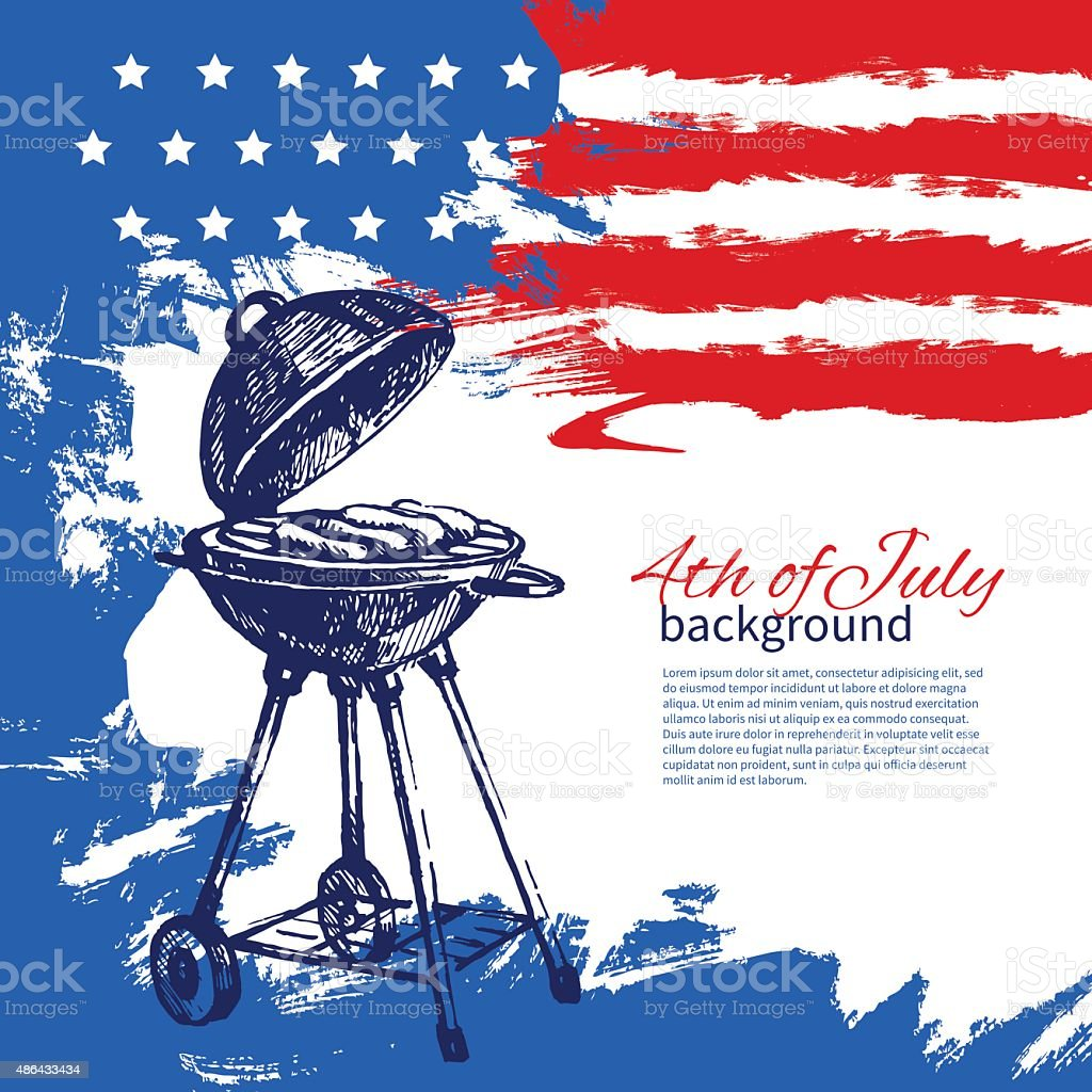 4th of July background with American flag. Independence Day vint vector art illustration
