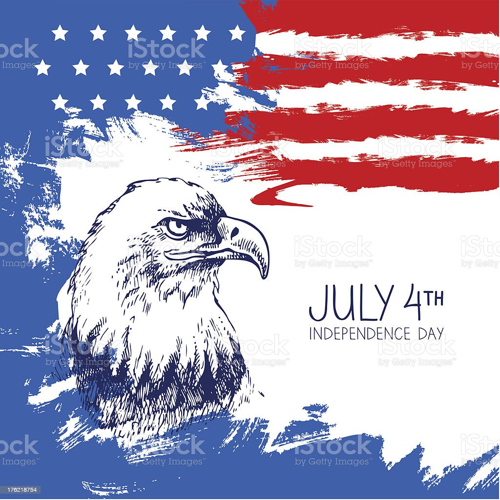 4th of July background with American flag vector art illustration