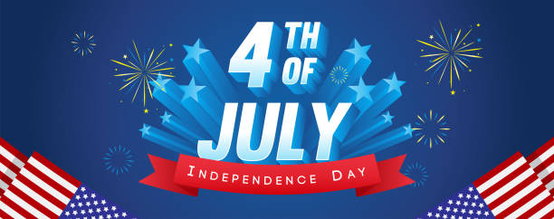 4th of july banner vector illustration. fireworks celebrations with usa flag frame on blue background. - happy 4th of july stock illustrations