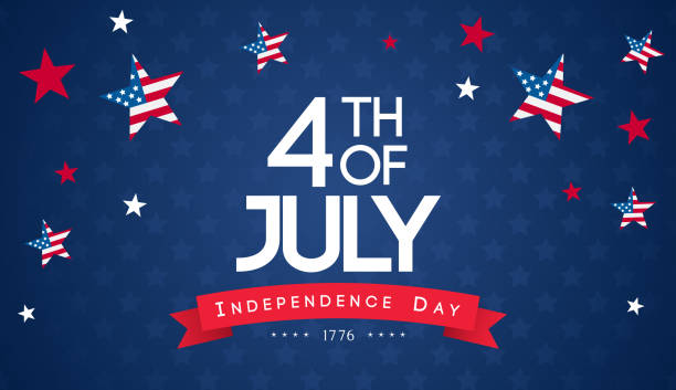 """4th of july banner vector illustration. independence day, """" 4th of july """" with stars falling on blue background. - independence day stock illustrations"""