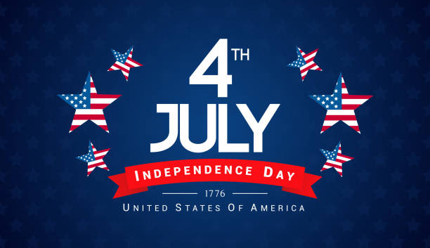 4th of july banner vector illustration, independence day with us flag inside star on blue background. - happy 4th of july stock illustrations