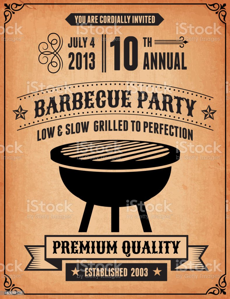 4th of July Barbecue Party Invitation royalty-free 4th of july barbecue party invitation stock vector art & more images of advertisement