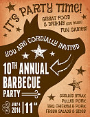 4th of July Barbecue Party royalty free vector postcard