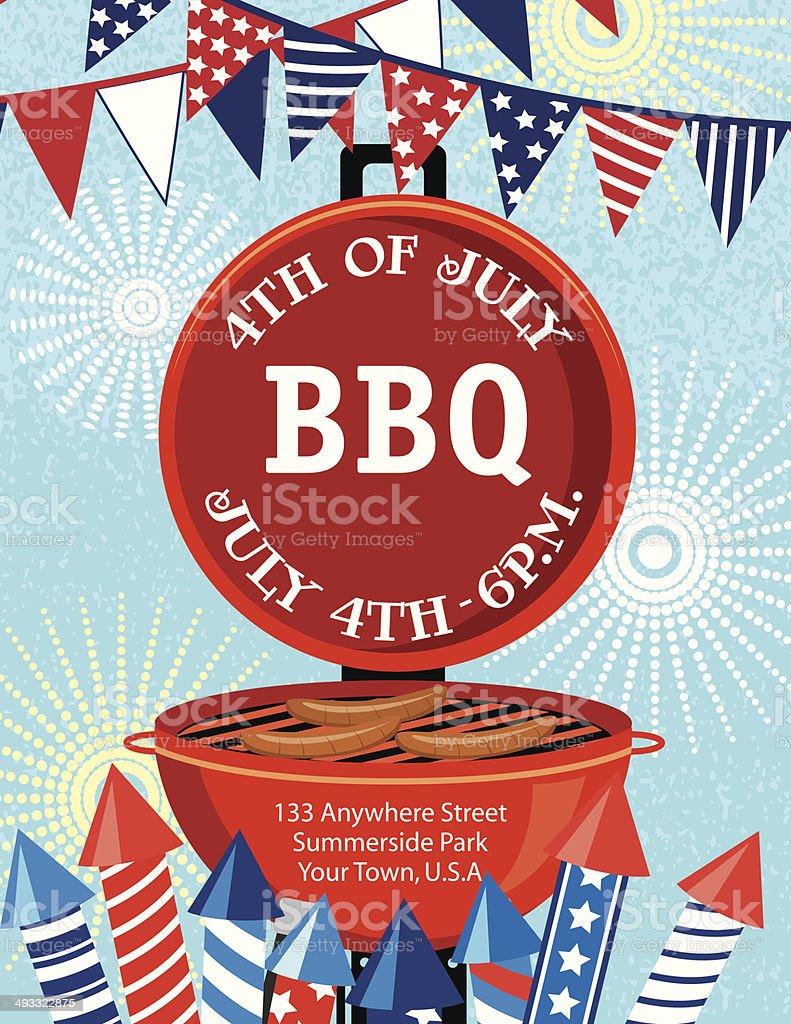4Th of July BBQ Invitation Template vector art illustration