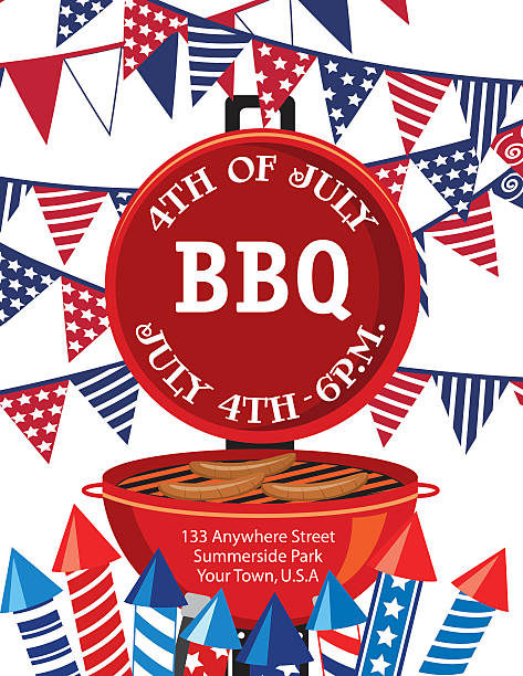 royalty free fourth of july red white and blue bbq invitation