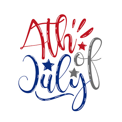 4th of july - calligraphy. Happy Independence Day, design illustration.