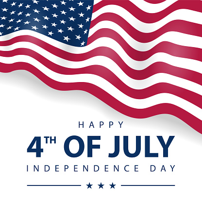 4th of July Celebration. Happy Independence Day banner. USA Flag vector illustration.
