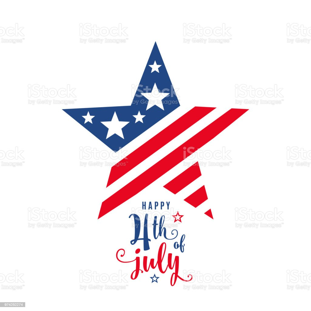 4th of July celebration holiday banner, star shape with typography lettering text 4th of July celebration holiday banner, star shape with typography lettering text. USA Independence Day poster for greeting, sale concept design. Isolated on white. Vector illustration Anniversary stock vector