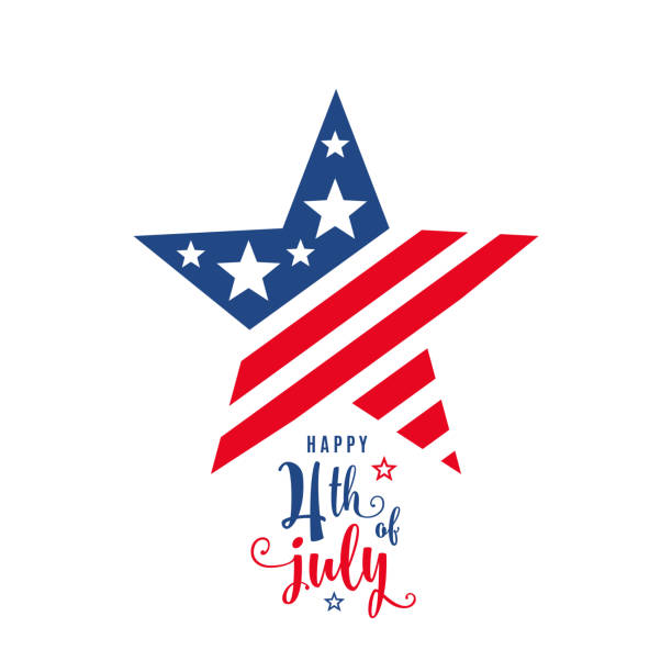 4th of july celebration holiday banner, star shape with typography lettering text - happy 4th of july stock illustrations