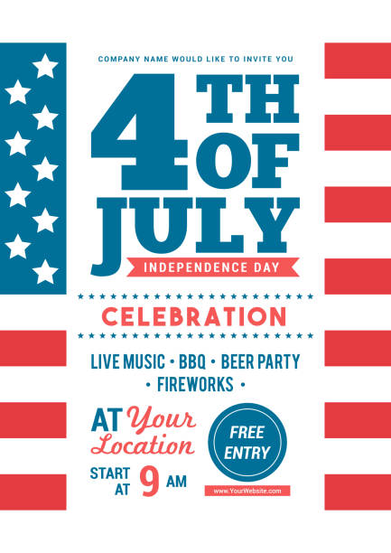 4th of july celebration poster templates vector illustration. american flag background, flyer design - happy 4th of july stock illustrations