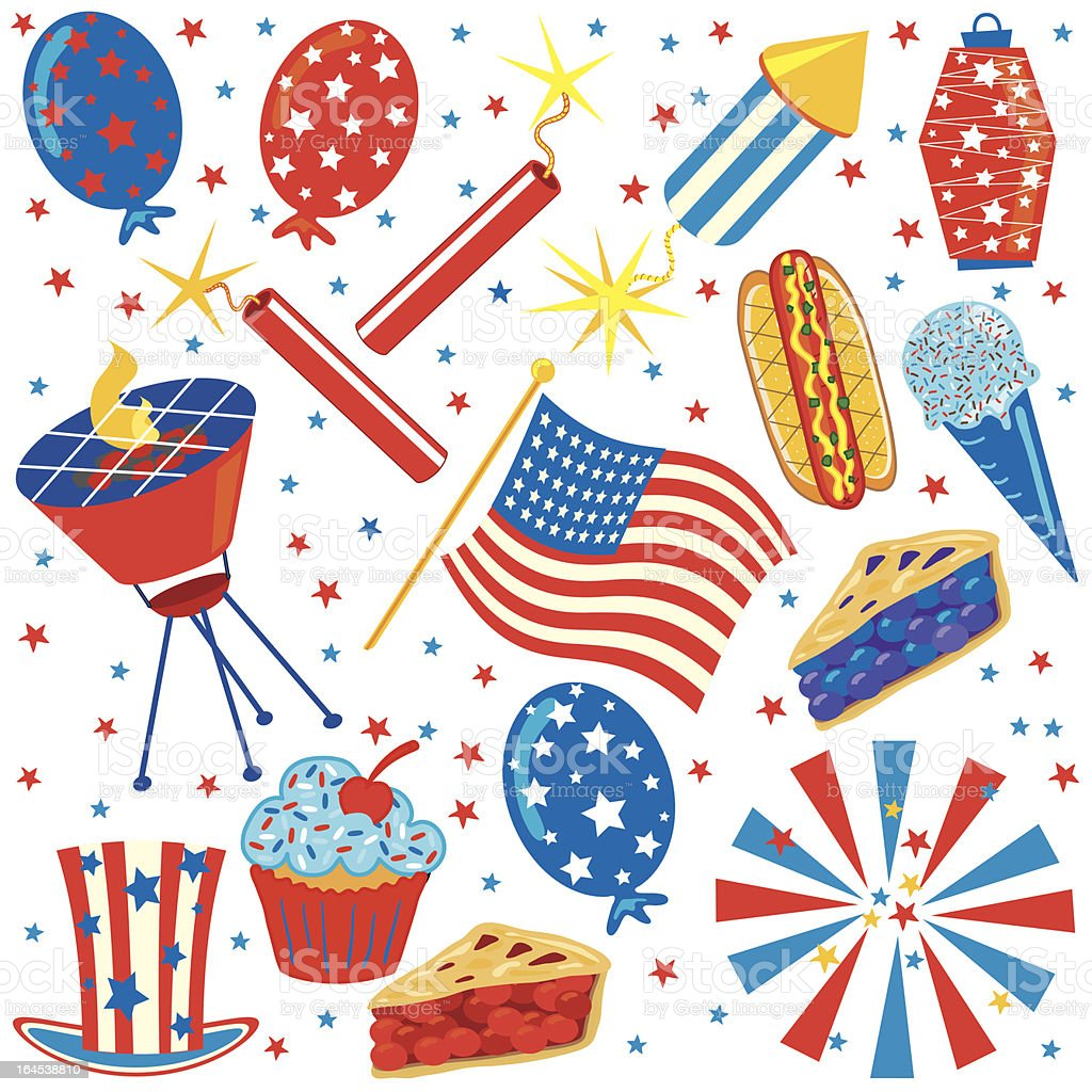 4th of July Clip Art Party Elements royalty-free stock vector art