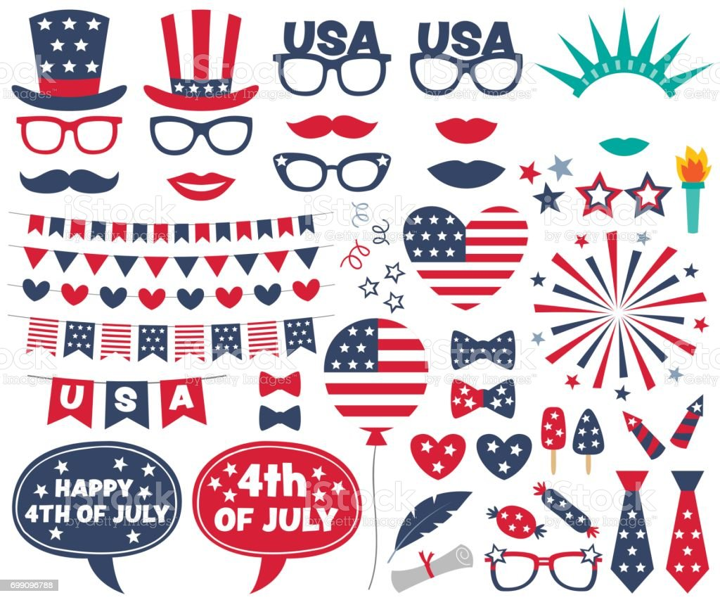 4th of July design elements and photo booth props set vector art illustration
