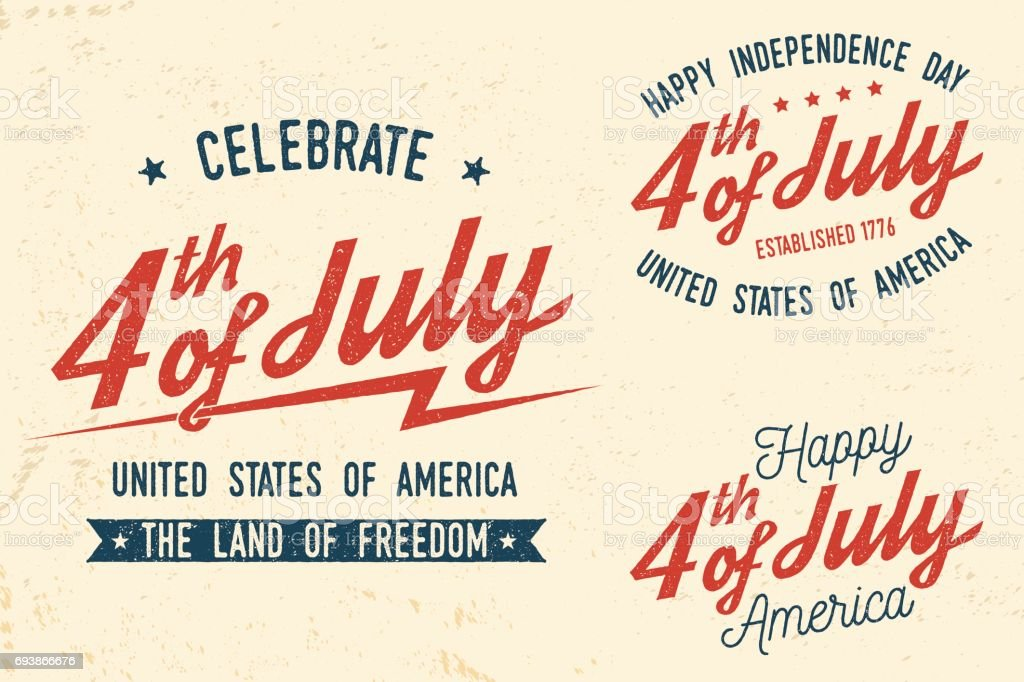 4th of july design in retro style vector art illustration