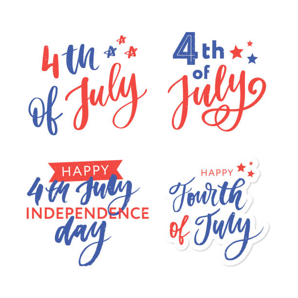 4th of July. Happy Independence day calligraphy 4th of July. Happy Independence day vector holiday lettering calligraphy circa 4th century stock illustrations