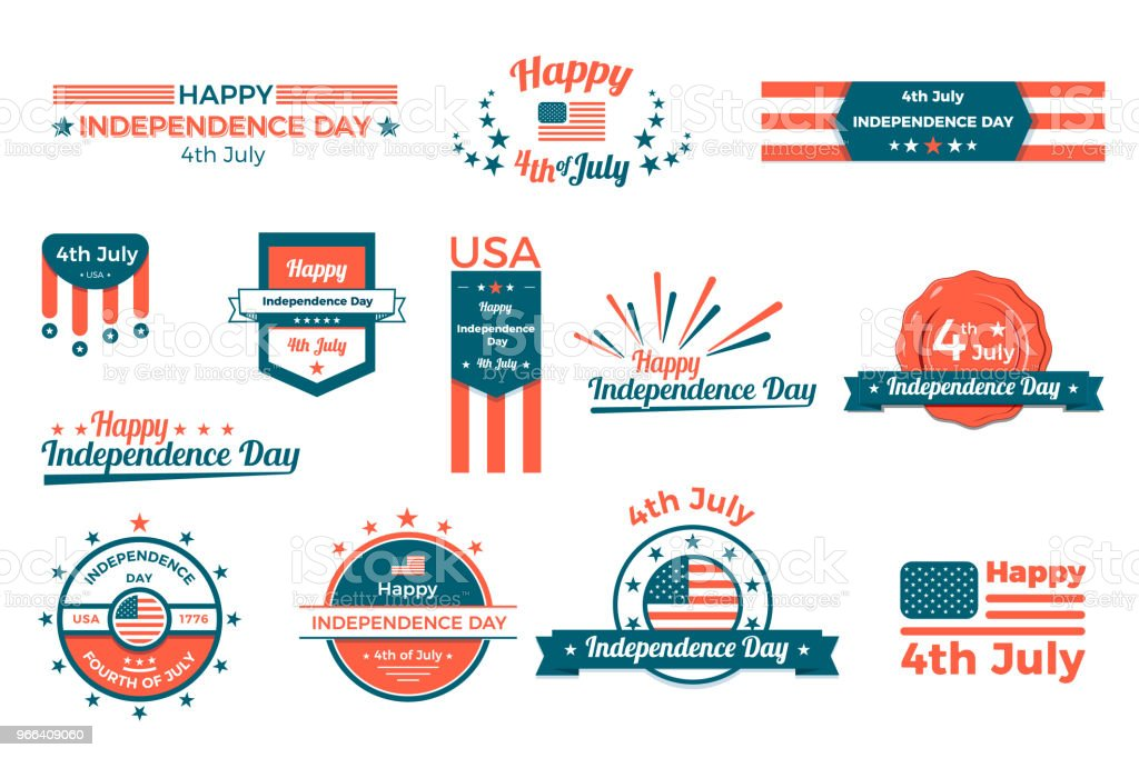 4th of july, Happy independence day labels, baners and badges set. Vector flat design vector art illustration