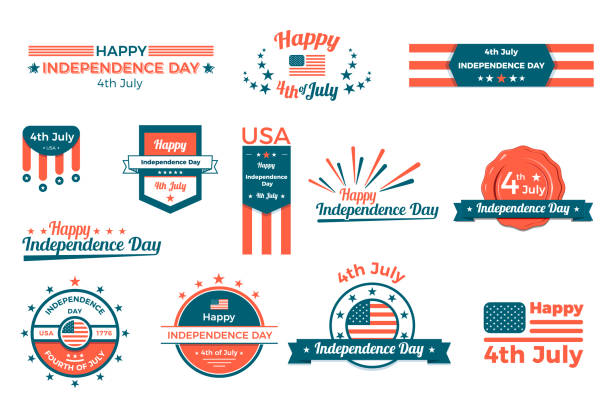 4th of july, happy independence day labels, baners and badges set. vector flat design - independence day stock illustrations