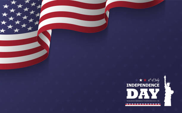 4th of July happy independence day of america background . Statue of liberty flat silhouette design with text and waving american flag at corner on blue star texture . Vector . vector art illustration