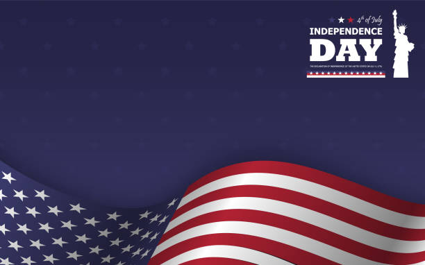 4th of july happy independence day of america background . statue of liberty flat silhouette design with text and waving american flag at lower on blue star texture . vector . - happy 4th of july stock illustrations