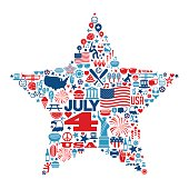 4th of July icons and symbols within a star shape. Independence day design. Vector illustration.