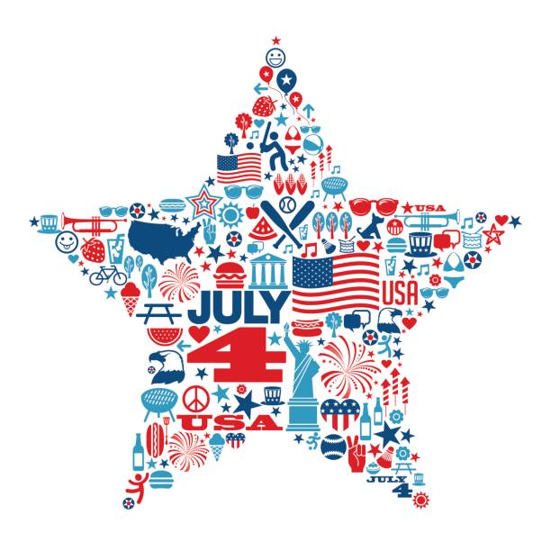 4th of July icons and symbols within a star shape vector art illustration
