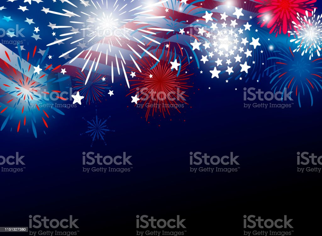 USA 4th of july independence day design of american flag with fireworks vector illustration USA 4th of july independence day design of american flag with fireworks vector illustration American Flag stock vector