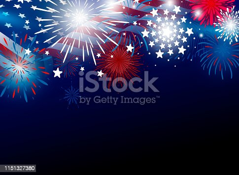 istock USA 4th of july independence day design of american flag with fireworks vector illustration 1151327380