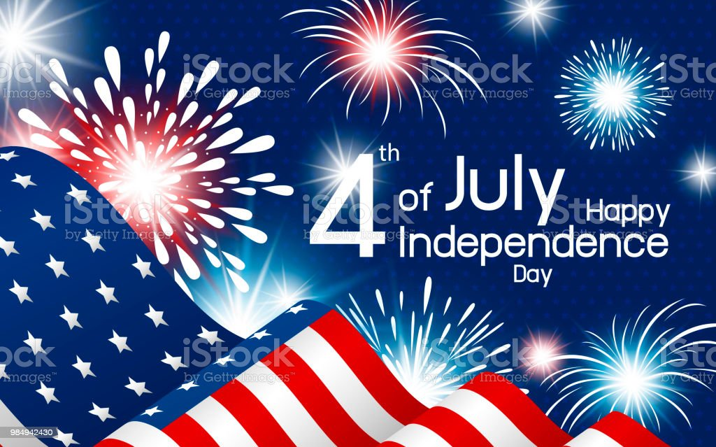 usa 4th of july independence day design of american flag with fireworks vector illustration royalty