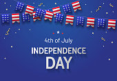 4th of July Independence Day greeting banner design template with american flags and confetti on blue background. - Vector illustration
