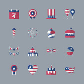 4th of July, independence day icons. Modern flat design set. For presentation, graphic design, mobile application, web design, infographics. Vector illustration.