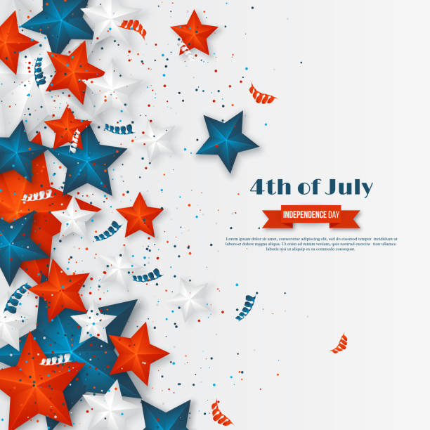 4th of July - Independence day of America. American holiday background. 3d stars in national colors with serpentine and confetti., vector illustration. 4th of July - Independence day of America. American holiday background. 3d stars in national colors with serpentine and confetti. Vector illustration. circa 4th century stock illustrations