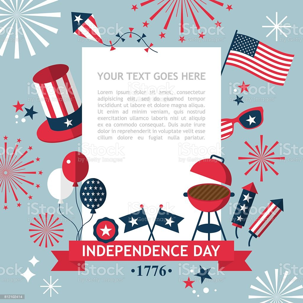 4th of July, Independence Day of the USA, party invitation vector art illustration