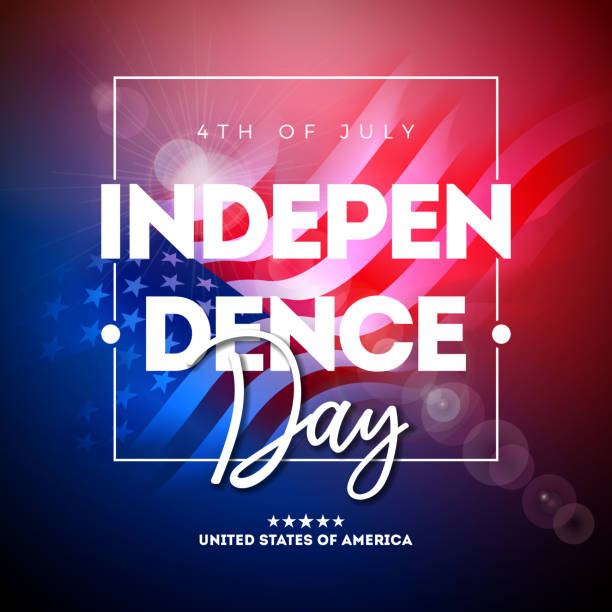 4th of July Independence Day of the USA Vector Illustration wth American Flag And Typography Letter on shiny Background. Fourth of July National Celebration Design with for Banner, Greeting Card, Invitation or Holiday Poster. 4th of July Independence Day of the USA Vector Illustration wth American Flag And Typography Letter on shiny Background. Fourth of July National Celebration Design with for Banner, Greeting Card, Invitation or Holiday Poster independence day illustrations stock illustrations