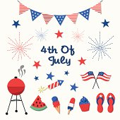 4th of July, Independence Day Vector Set