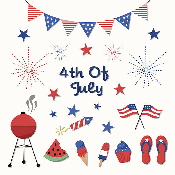 4th of July, Independence Day Vector Set A set of patriotic vector elements for Independence Day - July 4th. independence day holiday stock illustrations