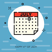 4th of July Open Outline USA Icon