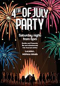 4th Of July Party Flyer Vector Illustration Poster