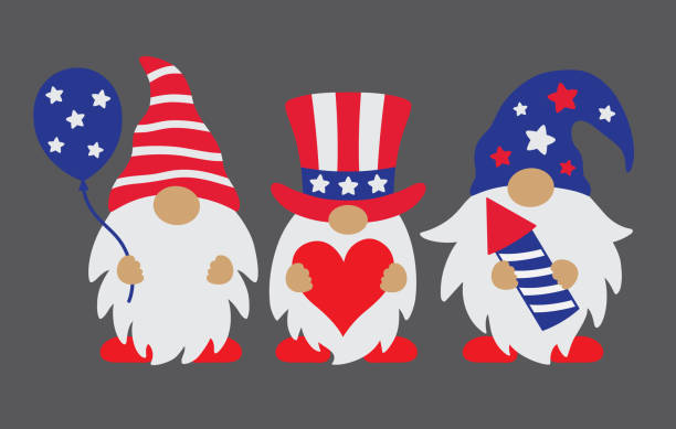 4th of july patriotic gnomes - fourth of july stock illustrations