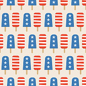 4th of July Popsicles seamless pattern - Illustration