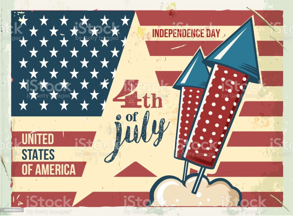 4th of July poster. Grunge retro metal sign with fireworks. vector art illustration