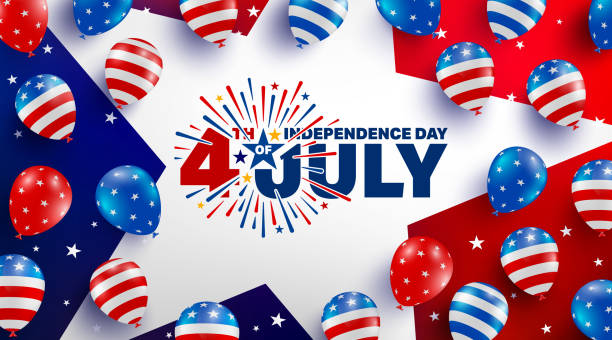 4th of july poster template.usa independence day celebration with american balloons flag.usa 4th of july promotion advertising banner template for brochures,poster or banner.vector illustration eps 10 - july 4th stock illustrations
