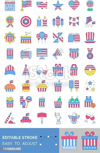 4th of july related united state flag in mobile, radio, caps, glasses, gift box, candies, ice creams, cup cakes, donuts, badge, megaphone, shopping bag and wine bottles vectors with editable stroke,