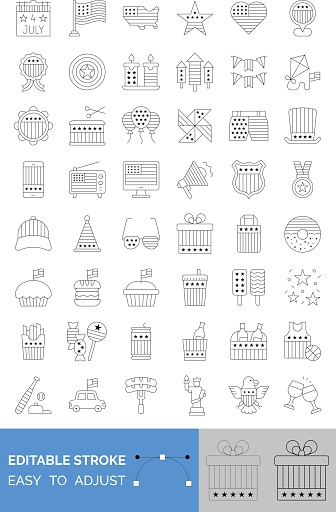 4th of july related united state flag in mobile, radio, caps, glasses, gift box, candies, ice creams, cup cakes, donuts, badge, megaphone, shopping bag and wine bottles vectors in lineal style,