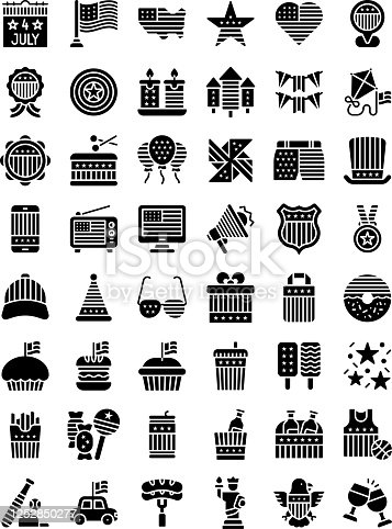 4th of july related united state flag in mobile, radio, caps, glasses, gift box, candies, ice creams, cup cakes, donuts, badge, megaphone, shopping bag and wine bottles vectors in solid design,