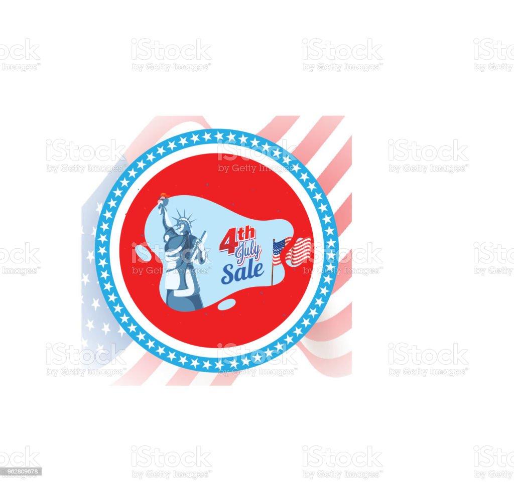 4 de julho, projeto de Banner de venda com a estátua da liberdade. - Vetor de 4 de Julho royalty-free
