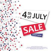 4th of July Sale banner. Vector illustration